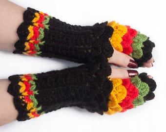 Mittens, Dragon Scale Fingerless Gloves, Dragon Gloves, Rasta Fingerless Gloves, Gift For Her, Gift For Christmas