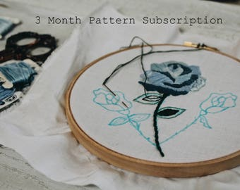 3 Month Embroidery Pattern Subscription // Embroidery Subscription // Embroidery Design // Embroidery Pattern PDF