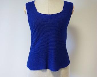 The hot price, cobalt linen top, S size.