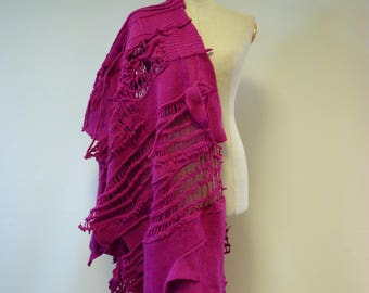 Amazing magenta felted shawl, perfect for gift.