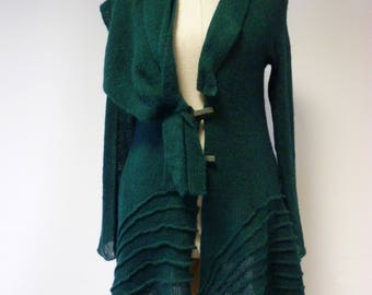 Special price. amazing green mohair cardigan, M size.