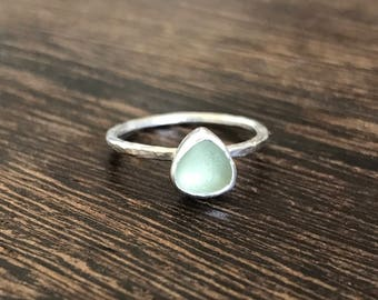 Sea glass ring, Cornish seaglass, seaglass ring, rare sea glass stacking ring, sea glass stacking ring, pale green stacker ring, Cornwall