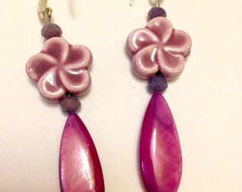 Earrings made in Czech ceramics and glass