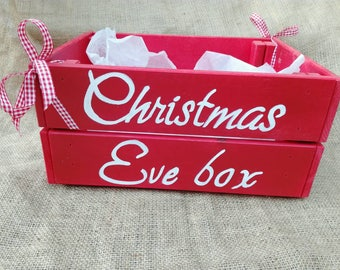 Christmas Eve box wood crate hand painted and personalised  gift box Christmas gift