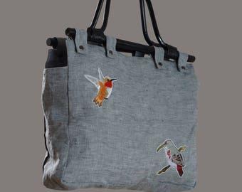 Bird linen handbag with bamboo handles