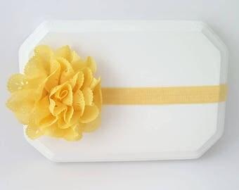 Bright Yellow Eyelet Flower Headband - Newborn Yellow Headband - Summer Newborn Photo prop - Infant headband- Yellow flower headband