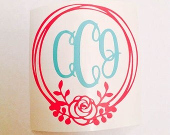Monogram with Floral Border