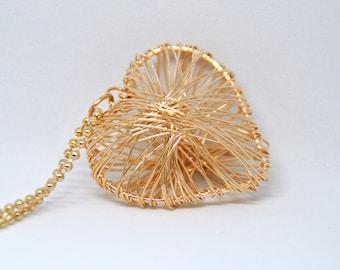 Golden heart, love necklace, gold pendant