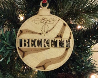 Personalized Christmas Ornaments,Beckett ornament, First Christmas, Family name, tree,  ornaments,Christmas ornament