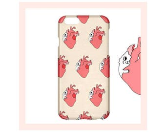 Cat iPhone Case-Gift for Cat Lady-Heart-Pattern iPhone Case-iPhone Cover-Cat Pink iPhone Case