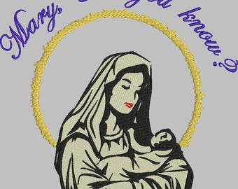 Inspirational machine embroidery Virgin Mary design