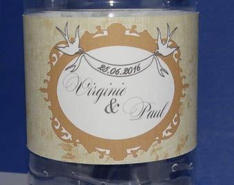 Lace water bottle label