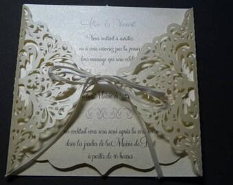 Lace - ivory baroque lace theme wedding invitation