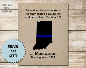 Police Officer Gifts Thin Blue Line Blessed Are The Peacemakers  Indiana State Police Retirement Police Gifts Law Enforcement Gifts