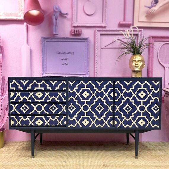 Vintage solid wood sideboard Blue tiles