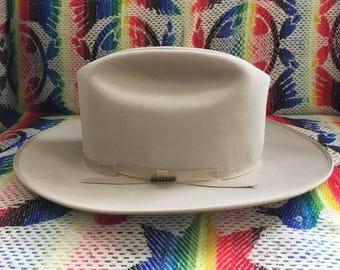 Vintage Stetson OPEN ROAD Style Beaver Tan Fur Felt Fedora Hat Size 7 1/8 EUC Western Cowboy Silverbelly