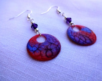 Hand painted earrings * red, blue and purple *.