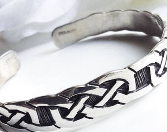 For Her, Sterling Silver  Bracelet, Silver Cuff Bracelet, Sterling Silver Celtic Bracelet, Vintage Bracelet, Vintage Silver Bangle Bracelet,