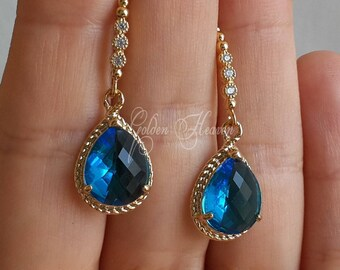Blue dangle earrings Sapphire Blue Earrings Gold Earrings Blue Earrings Blue drop Teardrop Earrings Gorgeous Most beautiful gift for her