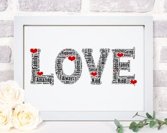 Personalised LOVE Hearts Word Wall Art Picture Print Wife Girlfriend  Valentines Anniversary Wedding Gift