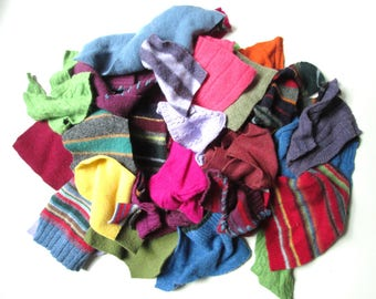wool sweater scraps felted wool pieces recycled fabric scraps remnant destash fabric lot sewing supply