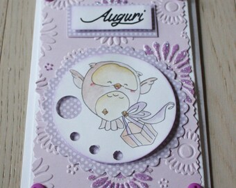 Greeting cards with OWL with Gift