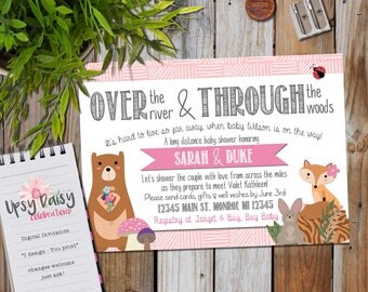 Long Distance Baby Shower Invitation, Girls, Pink Woodland Forrest Friends Rustic Fox Shower By Mail Animal Customized (I Design, You Print)