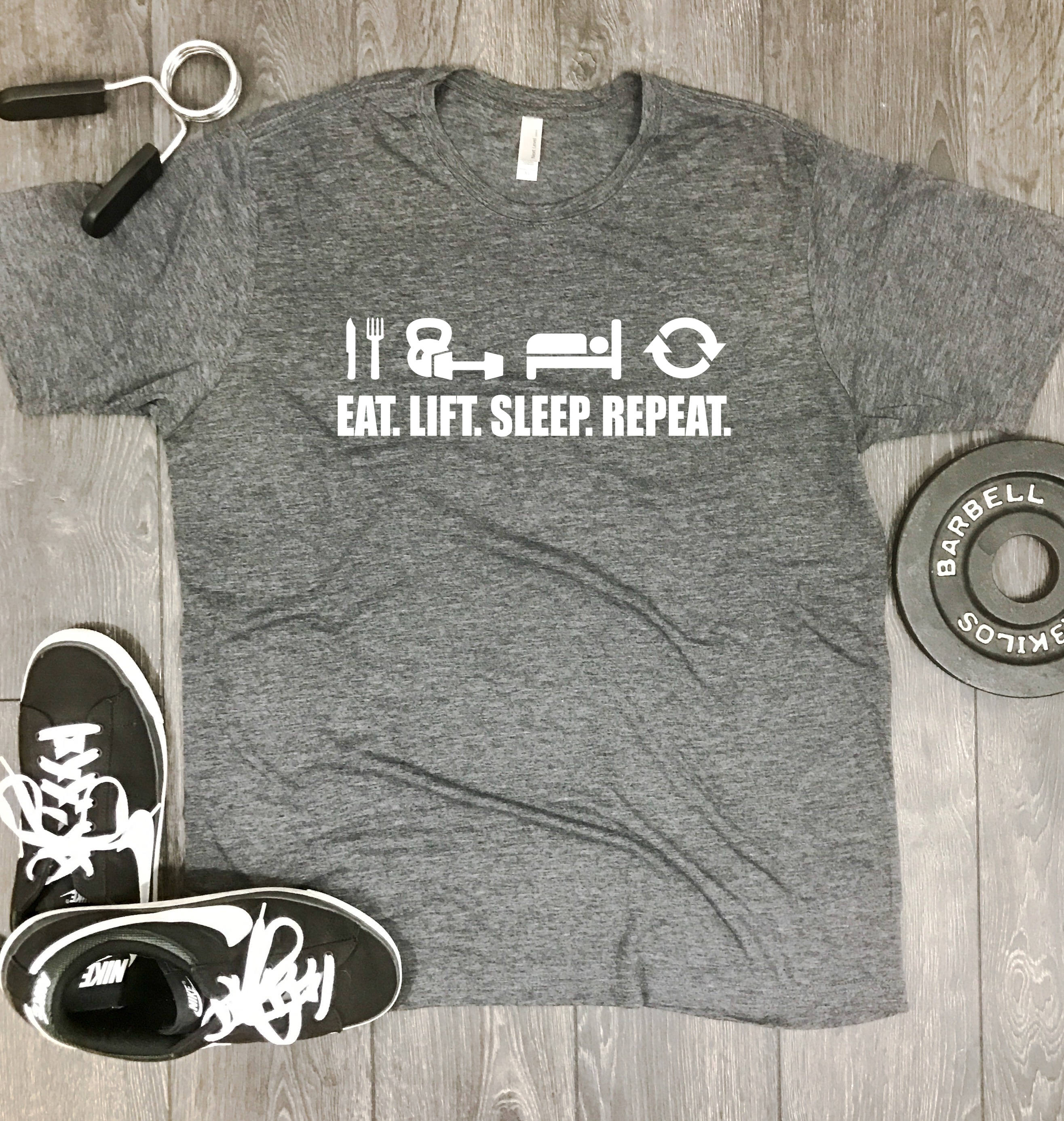 Eat lift sleep repeat mens gym shirt workout motivation for Design your own workout shirt