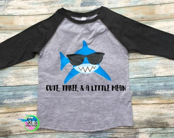 Third birthday shirt, Shark birthday, Shark birthday shirt, Raglan birthday, cute three & mean, Shark birthday shirt, shark shirt, shark