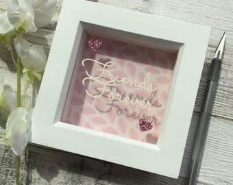 Papercut, friend frame, best friend gift, friend gift, friendship gift, friend birthday gift, friends christmas gift, papercutting, wall art
