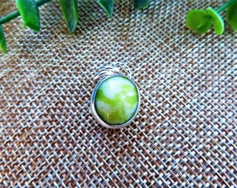 Lime Green Serpentine Sterling Silver Pendant