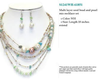 Seed and bead necklace
