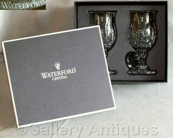 Vintage Waterford Crystal Lismore Pattern Crystal Cut Glass Irish Coffee Glasses in Original Retail Box and Signed with Stickers (ref: 5034)