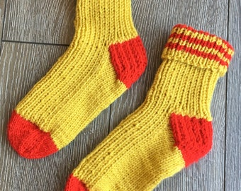 Size 6-8, Knitted Socks, Red & Yellow Warm Winter Socks