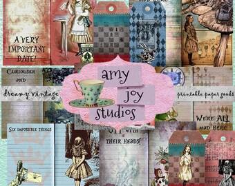 DIY Journal  Alice in Wonderland Journal  Digital Journal Kit  Printable Journal Pages  Mixed Media Art  Junk Journal Kit  Smash Book
