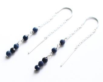 Sapphire Threader Earrings, Sterling Silver U Thread Earrings, Long Blue Chain Earrings, Tiny Gemstone Earrings September Birthstone Jewelry