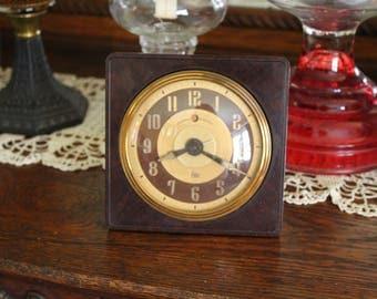 Vintage Bakelite Clock, General Electric Lotus Alarm Clock, GE Alarm Clock in Bakelite Case with Convex Glass Face, Nightstand Clock