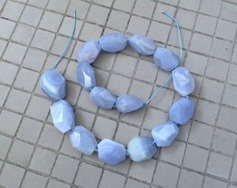 Full Strand Natural Blue Chalcedony Faceted Nugget Beads