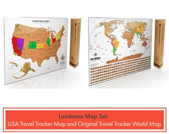2 Scratch Off Travel Tracker Maps - 1 Original White and Gold World Map & 1 USA Travel Tracker Map - Gift Idea for Travelers - 2 Pack Decor