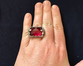 RED STONE- statement ring - flowers - sterling silver - size 7