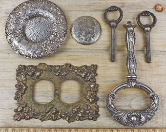 Metal Ornate Handles, Decorative Hardware, Cake Stand Replacment Handle, Metal Tier Handles, Ornate Outlet Cover, Craft Metal 17-7