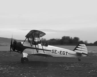Black and White Air Plane Print, Vintage Plane Photography, Black and White Air Plane Wall Art, White Plane Art Prints