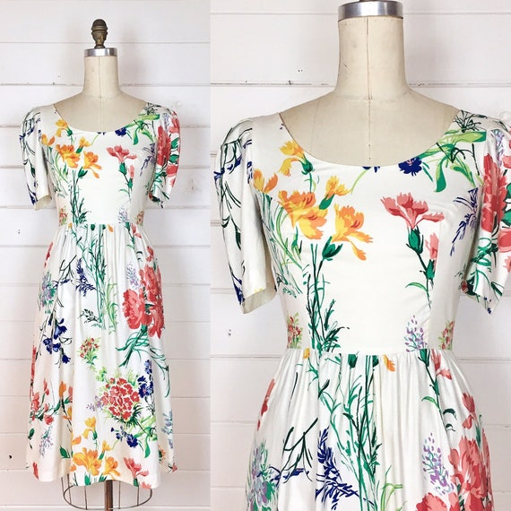 Vintage 1980s Botanical Floral Cotton Day Dress / Garden Floral / Made by Blair Woolverton / Tulip Sleeve