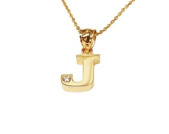 NP07cz-10K Gold One Initial Name Necklace with a Cubic Zirconia