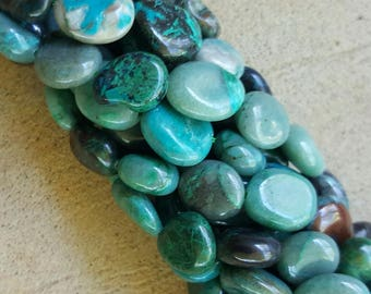"Natural Chrysocolla Nugget Beads, 11~14 x 10~11mm - 15.74"" Strand"