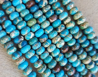 "Natural Regalite Rondelle/Abacus Beads, Dyed Teal, 8mm x 5mm - 15.3"" Strand"