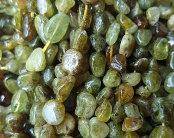 "Natural Garnet Nugget Beads, Green, 5x4mm - 15.5~16"" Strand"