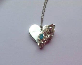 Silver heart necklace, silver rose necklace, silver pendant