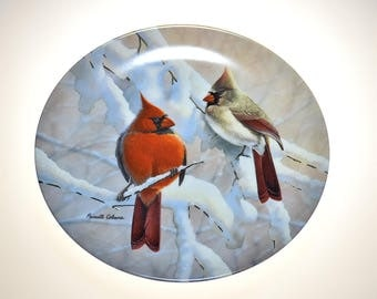 Vintage Decorative Plate with Snows Birds W.S. George 1991
