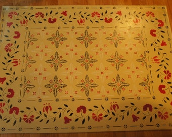 Hand painted and stenciled historic Floorcloth design